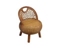 NBRTT Sedia in Vimini Fatta a Mano in Rattan, Design Naturale, mobili per Lounge Jam Jam Chair Design coloniale, sedie con Cuscini Color Crema, mobili da Giardino per Esterni