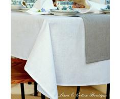 Lusso Tovaglia da Tavola In Stoffa, Bianco - 50% Lino, 50% Cotone (147 x 250cm)