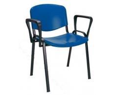 KARISMA - ISO POINT B, Sedia In Plastica Casa / Ufficio / Attesa / Scuola / Bar Più Braccioli Destro Sinistro, Blu