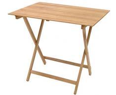 Tavolo tavolino pieghevole richiudibile legno naturale 80x60 cm campeggio casa