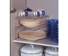 Metaltex 364002095 Palio - Ripiano angolare a 2 piani per armadietto da cucina, 25 x 25 x 19 cm, colore: Argento