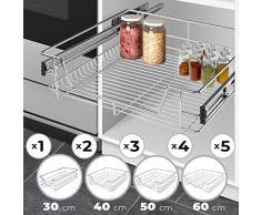 Jago Cassetto telescopico (30/40/50/60 cm) - Cromato, per Cucina o Camera da Letto in Varie larghezze - Supporto, cassetto, cassetto Cestino, cassetto Armadio, Inserti cassetto (60 cm)