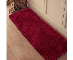 CHENGYANG Tappeto Shaggy pelo lungo resistente Uni passatoia antiscivolo tappeto tappeti da cucina Tappetino da bagno Vino Rosso 60cm x 150cm