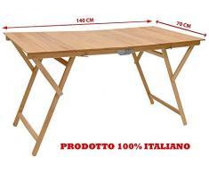 Tavolo tavolino pieghevole richiudibile legno naturale 140x70 cm campeggio casa.