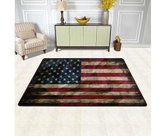 MALPLENA Tappeto per salotto con bandiera americana antica, tappetino per scarpe e raschietto per salotto/sala da pranzo/camera da letto/cucina antiscivolo, poliestere, 1, 36 x 24 inch