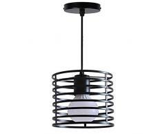 Mengjay Plafoniera lampadari rustici in Metallo Nero Luce pendente Retro Cucina Isola Gabbia Lampada a Sospensione Illuminazione Industriale Sala da Pranzo soffitto lampadari Sala da Pranzo (A)