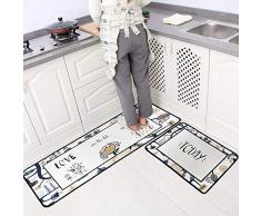 Leebei Tappeti da Cucina Lavabili Antiscivolo,Zerbini Cucina Camera da Letto Bagno Moquette Mat Assorbente (2pcs-Love,15.7×23.6 Pollici+15.7×47.2 Pollici)