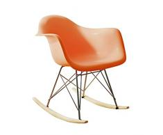 XHCP Giardino Esterno Rilassarsi Sedia a Dondolo Poltrone per Interni all Weather Chair Sedia a Slitta in ABS Portici Bistrot Sedile a Dondolo , 5 Colore (Colore: Arancione, Dimensioni: 68x52x67,