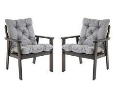 Ambiente Casa salotto in rattan sedia poltrona da giardino in legno massiccio incl. Cuscini HANKO, taupe grigio, set di 2 pezzi