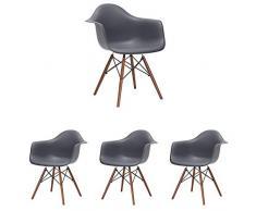 N/A Set di 4 sedie da Cucina Moderne Sedie da Pranzo scandinave Chaise Longue Sedie da caffè Sedia Laterale Design retrò con Gamba in faggio Massiccio (Grigio)
