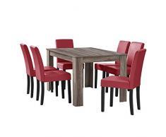 [en.casa] tavolo da pranzo antico con 6 sedie rosso scuro similpelle imbottite 140x90 sala da pranzo set