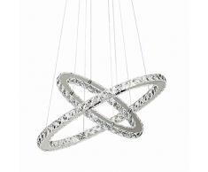 Lampadari, Lampadario in cristallo di vetro Lampada da soffitto a soffitto con due anelli ovali (40 + 60 cm) per sala da pranzo, soggiorno, camera da letto studio (luce neutra)
