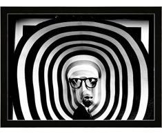 """Quadro con cornice: giovanni paolini """"street con vetrina !!"""" - stampa artistica decorativa, cornice di alta qualità, 40x30 cm, nero / angolo grigio"""