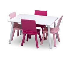 DELTA CHILDREN Tavolo rettangolare bianco + 4 sedie in legno rosa