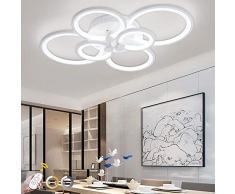 ONLT Plafoniera LED da soffitto,Super-sottile cerchio Soffitto moderni lampadari di luce Luce per soggiorno,sala da pranzo (Dimmerabile, 6 Teste)