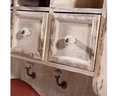 Mensola piattaia in legno 3 cassetti e 3 ganci. 00252 CUCINA MOBILE COUNTRY SHABBY
