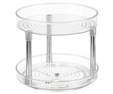 iDesign Organizer cucina a 2 livelli, Portaspezie girevole in plastica priva di BPA, Porta spezie ideale anche per conserve e altri utensili, trasparente