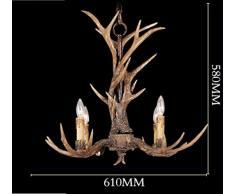 EFFORTINC Vintage Chandelier Deer Horn resina 4 luci, lampadari rurali campagna corna, Sala studio / ufficio, sala da pranzo, camera da letto, Soggiorno Lampadario