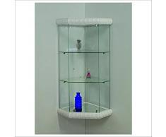 VM ART DESIGN GLASS Vetrina angolare da parete art. VM504T-D con Basi Decorated Style (White Arabic Style)