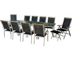 IB-Style - Mobili da gardino DIPLOMAT   4 variazioni   1x tavolo 135 x 270 cm + 8x sedia impilabile 2x sedia pieghevole in argento / nero / teak   grouppo - set - lounge - resistente alle intemperie
