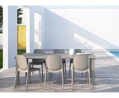 Ideapiu Tavolo da Giardino in tecnopolimero, per Esterno, allungabile da 170 a 220cmX100PFX75H. Colore: Tortora