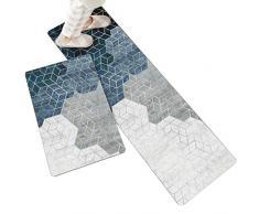 ZUQ, set di 2 tappeti da cucina antiscivolo, morbidi tappetini da cucina, per acqua e olio, lavabili in lavatrice