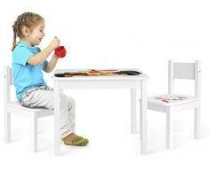Leomark Yeti Tavolo e 2 sedie in Legno, tavolino Set da cameretta per Bambini, Gioco di Gruppo in Classe, mobili per Bambini, Stanza dei Bambini mobili Alta qualità Stabile, Tema: Car Bolide