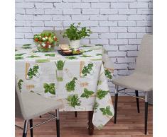 Tovaglia cerata, lavabile, di colore verde e beige, motivo: piante, taglia selezionabile, asciugamani, Kräuter Grün Beige Bio Basilikum, 240 x 140cm