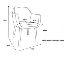 AC Design Furniture, 59098, Sedia con braccioli Trine, 58 x 58 x 84 cm, seduta in poliuretano effetto pelle, Grigio (Grau)
