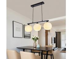 Lampadario illuminazione E27 * 3 in ferro battuto bianco lampadario da pranzo bar camera da letto soggiorno sala da pranzo lampadari in vetro personalità nordica creativo semplice moderno A+ ( Size : A )