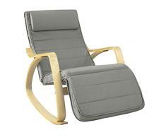 SoBuy Sedia a Dondolo Poltrona Relax reclinabile Chaise Longue Grigio FST16-DG