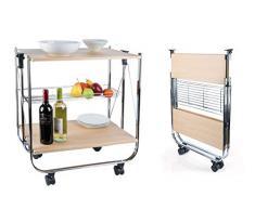 Mediawave Store - Carrello da Cucina Pieghevole in Legno 40x67,5x70h cm salvaspazio 4 Ruote Rovere