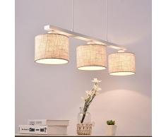 Moderna lampada da tavolo da pranzo sala da pranzo lampadario a sospensione lampada lampada metallo tessile tamburo E27 × 3 × 40 W Indoor illuminazione [Classe di efficienza energetica A + +]