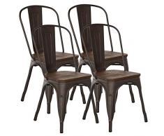 FANGYU Chair Set di Color Bronzo in Stile Antico sedie in Metallo per Sedia da Pranzo in Legno