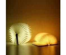 XDLUK LED Libro Lampada in Legno Pieghevole Luce Notturna 4.5 W 20000MA A Batteria Modificabile Forma Tavolo da Soffitto Plafoniera Luce Pratica E Bella Illuminazione