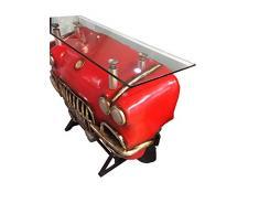 Bancone bar Cadillac in legno laccato rosso e nero