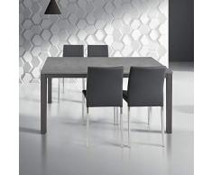 Milani Home s.r.l.s. Tavolo da Pranzo Moderno di Design Allungabile Cm 90 X 160/220 Rovere Struttura Grigia Scura Piano Grigio per Sala da Pranzo
