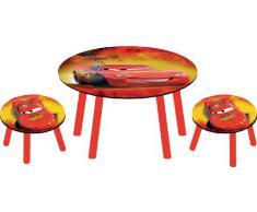 Disney Pixar Cars, Set Tavolo e 2 Sgabelli in Legno