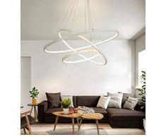 LED Sospensioni 3 circolare bianco design per tavolo da pranzo lampada da tavolo in metallo e acrilico salotto cucina sala di Riunione dimmerabile con telecomando Ø20 + Ø40 + Ø60 cm 70 W 4500LM