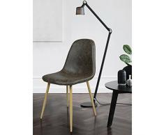 Innovareds PU, set di 4 sedie per sala da pranzo gambe in metallo vintage lounge sedia wood-imitation sgabello marrone