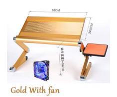 Wuyan Mini scrivania Portatile Magica del Computer con Il Bordo del Topo Tavolo del Computer Portatile modificabile Creativo per Divano/Letto/Corsa all'aperto Lega di Alluminio, Oro con Ventola