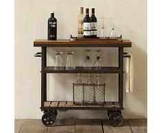 Carrello portavivande a 3 Livelli Carrello da Portata Vintage Carrello Bar in Metallo in Legno massello con portabottiglie su Ruote Isola da Cucina