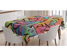 ABAKUHAUS Colorato Tovaglia, Abstract Grunge Frecce, Rettangolare per Sala da Pranzo e Cucina, 140 x 240 cm, Multicolore