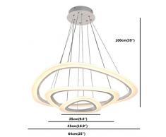 Vi-xixi LED a sospensione luce moderna Lampadario in acrilico regolabile in altezza tre triangolo anelli 3 colori lampada a sospensione (64cm)