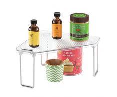 InterDesign Linus Armadietto Cucina o Angolo Ripiano Mensola, Plastica, Trasparente, 30.5x25.5x14.5 cm