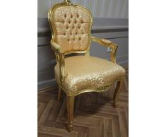 LouisXV sedia antica, barocca, soffiare dorato, broccato doro MkCh0082