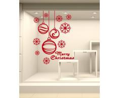 Adesivi Murali Vetrofania natalizia 'Pendenti con fiocchi di neve' - Misure 61x80 cm - Vetrine negozi per Natale