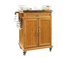 SoBuy Mobile dispensa cucina Mobile cucina credenza con ruote L66*P46*A91 cm FKW13-N