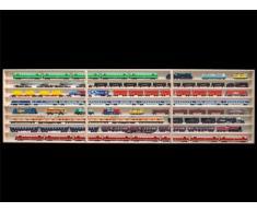 3E41ALRM Elementi Vetrina parti sinistra centrale e destra, 210 x 75,5 x 10,5 cm con scanalature per modellismo scala H0 e N in legno di betulla, con 12 vetri di plexiglas, vetrinetta