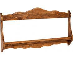 Biscottini Piattaia Country in legno massello di tiglio finitura noce 84x11x43 cm